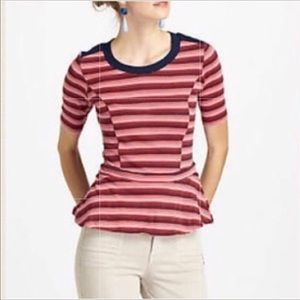 Anthropologie Bordeaux red striped peplum top